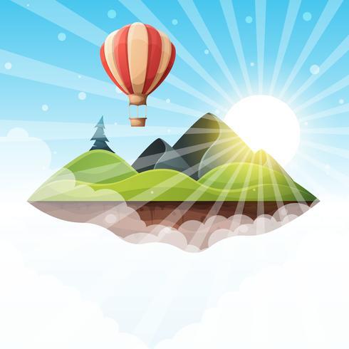 Ilustração de paisagem ilha dos desenhos animados. Abeto, montanha, sol, colina, vetor