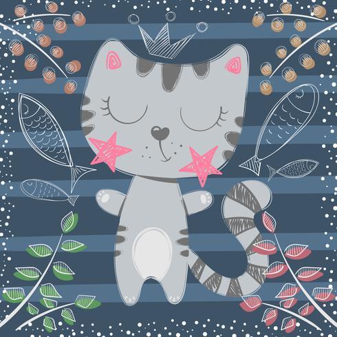 Princesinha bonitinha - personagens de gato vetor