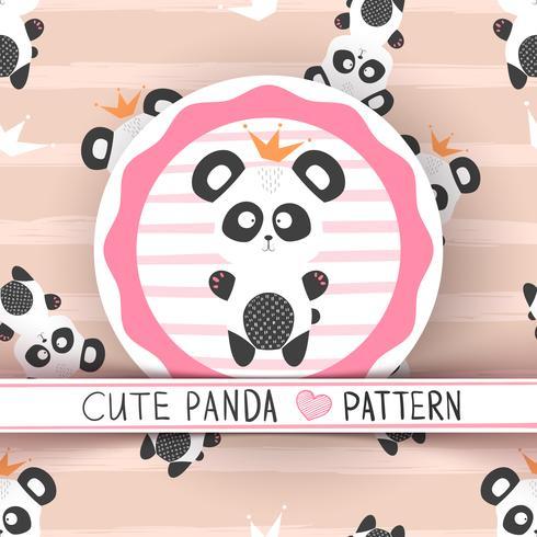 Panda bonito princesa - padrão sem emenda vetor