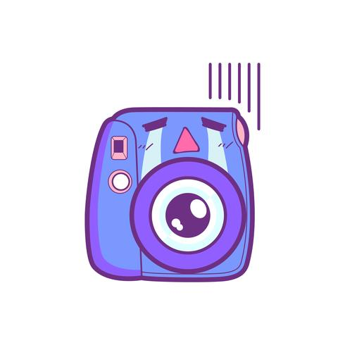 Emoticon bonito da etiqueta da câmera vetor