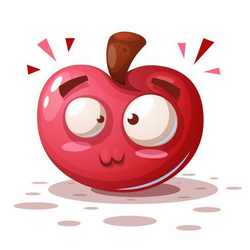 Bonito, engraçado - personagens de desenhos animados apple. vetor