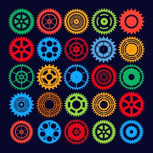 Conjunto de engrenagens multicolor vetor