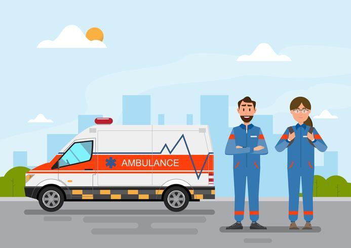 serviço médico de ambulância transportando paciente com pessoal de homem e mulher vetor