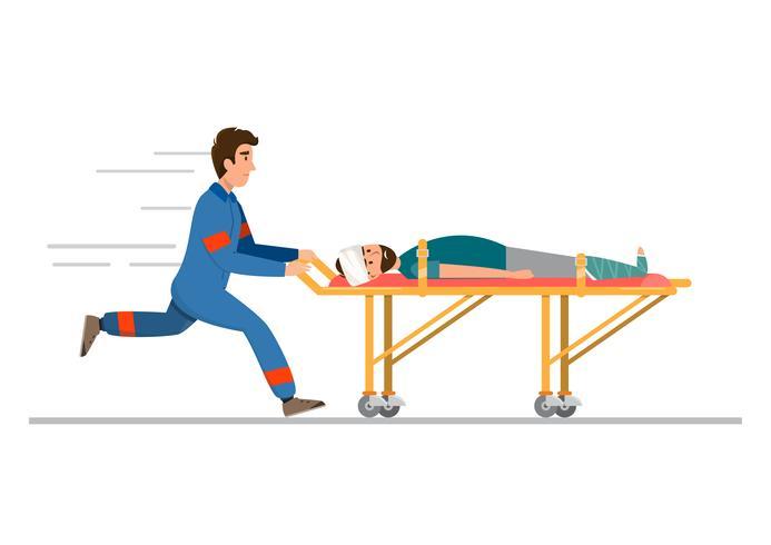 ambulância serviço médico de emergência. a equipe está transportando o paciente em maca vetor