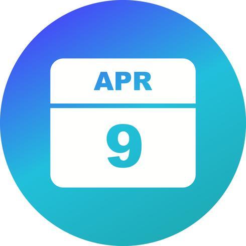 9 de abril Data em um calendário de dia único vetor