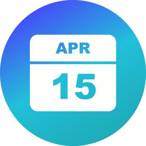 15 de abril Data em um calendário de dia único vetor