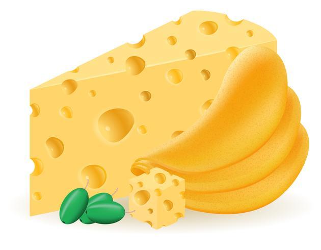 batatas fritas com ilustração vetorial de queijo vetor