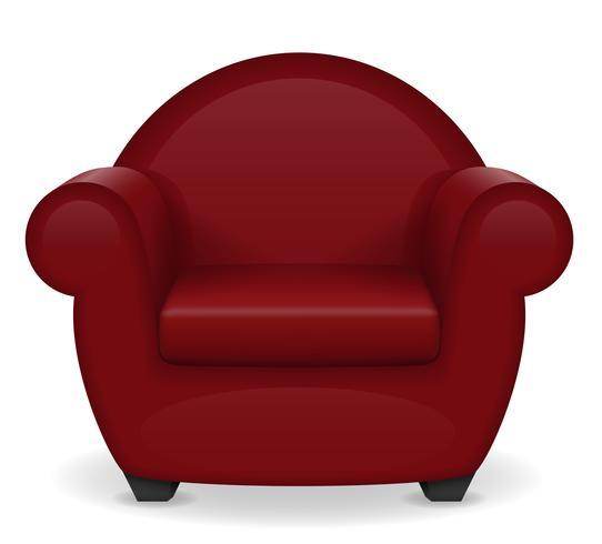 ilustração em vetor móveis poltrona vermelha