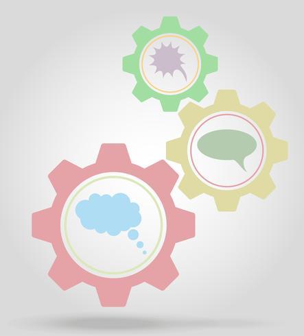 ilustração em vetor conceito de mecanismo de engrenagem de bolhas de discurso