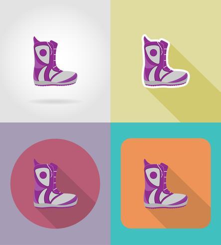 ilustração em vetor ícones plana botas de snowboard