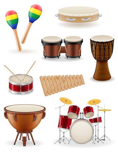 instrumentos musicais de percussão conjunto de ícones de ilustração vetorial de estoque vetor