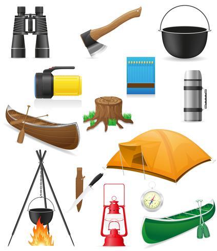 conjunto de itens de ícones para ilustração vetorial de recreação ao ar livre vetor