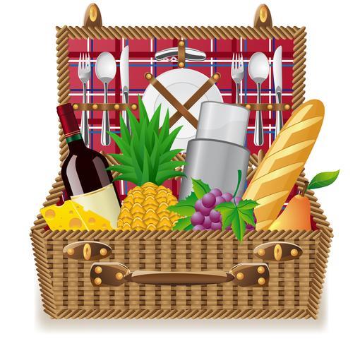 cesta para um piquenique com talheres e alimentos vetor