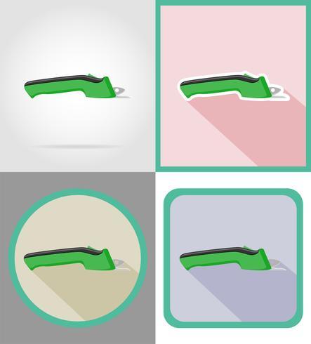 ferramentas de tesoura elétrica para construção e reparação de ilustração em vetor ícones plana