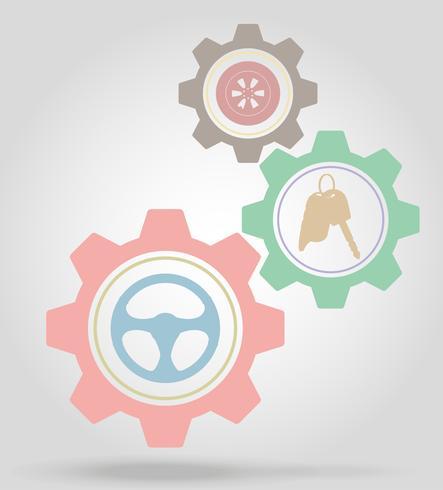 ilustração em vetor conceito mecanismo de engrenagem de transporte