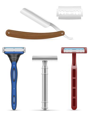 lâmina e navalha para barbear ilustração vetorial de estoque vetor