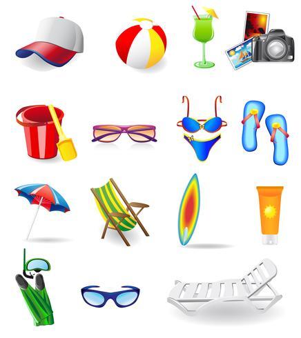 conjunto de ícones para descanso em um mar de sol e praia vetor