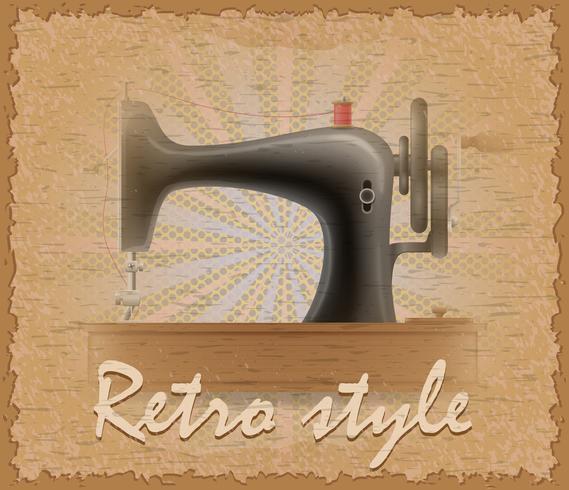 cartaz de estilo retro velha ilustração vetorial de máquina de costura vetor