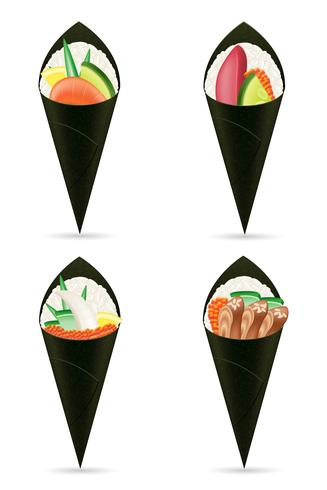 conjunto de sushi mão rolos ilustração vetorial vetor