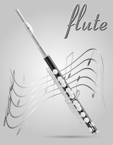 flauta vento instrumentos musicais stock vector illustration