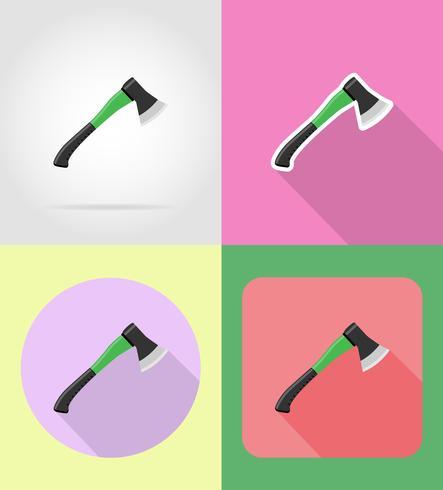 ilustração em vetor ícones plana machado de jardinagem ferramenta
