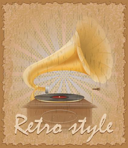 cartaz de estilo retro ilustração vetorial de gramofone antigo vetor