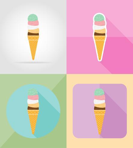 ilustração em vetor ícones plana sorvete