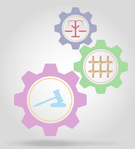 ilustração em vetor conceito mecanismo de engrenagem de justiça