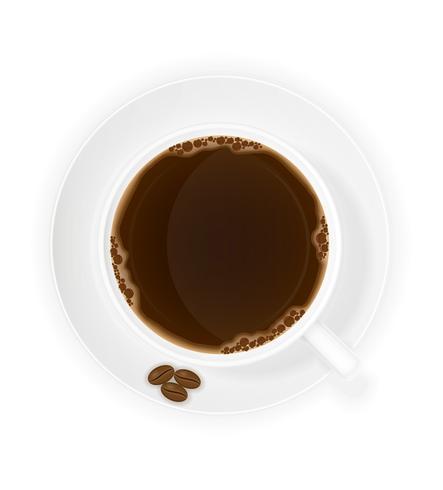 xícara de café e grãos vista superior ilustração vetorial vetor