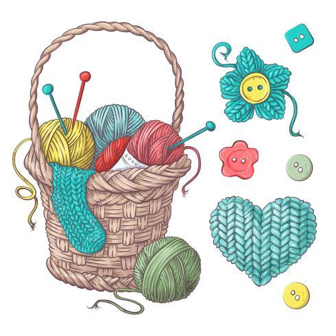 Conjunto para cesta artesanal com bolas de fio, elementos e acessórios para crochê e tricô. vetor