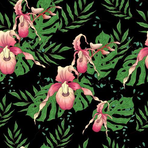 Vetorial mão desenhada sem costura padrão com ramo de orquídea estilizada para seu projeto sobre o fundo preto vetor