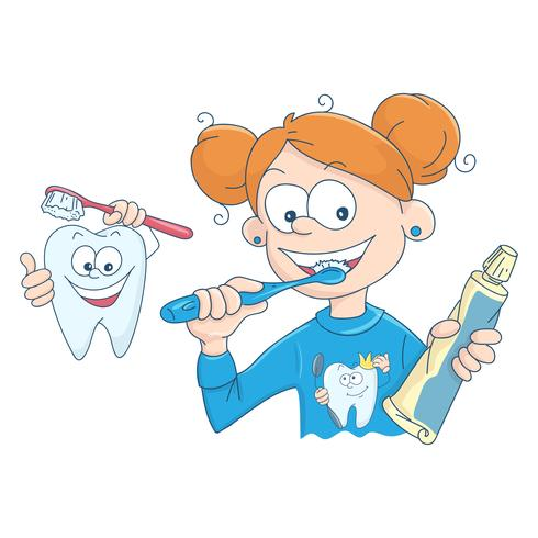 Vetorial, ilustração, de, um, menininha, escovar, dela, dentes vetor