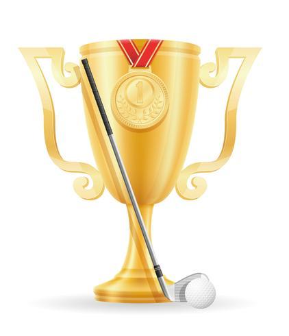 ilustração em vetor estoque ouro vencedor de taça de golfe