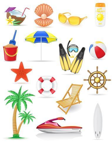 conjunto de ilustração em vetor praia ícones