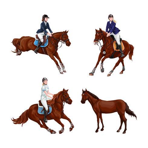 Mulher, menina, montando, cavalos, jogo, isolated. Passeio do horseback do treinamento do esporte equestre da família. vetor