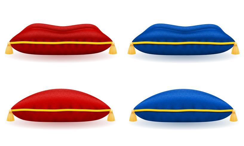 travesseiro de veludo azul vermelho com ilustração vetorial de corda e borlas de ouro vetor