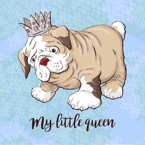 Cão de cachorrinho feliz dos desenhos animados, retrato do colar vestindo bonito do cão pequeno. vetor