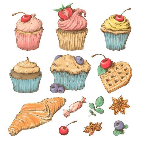 Capcake doce com creme. Conjunto de cartões de vetor