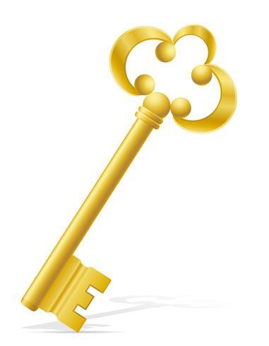 antiga ilustração em vetor fechadura de porta chave retrô
