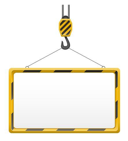 guindaste de gancho para a construção e ilustração em vetor placa modelo em branco