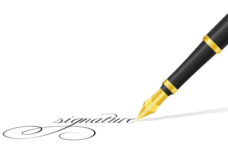 caneta de tinta e assinatura ilustração vetorial vetor