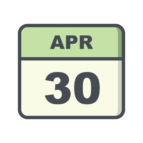 Data de 30 de abril em um calendário de dia único vetor