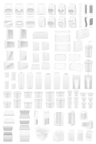 embalagem branca grande conjunto de ilustração vetorial de ícones vetor