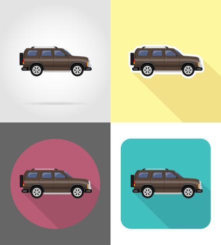 ilustração em vetor ícones suv carro liso
