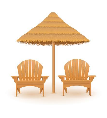 praia poltrona espreguiçadeira espreguiçadeira de madeira e guarda-chuva feita de palha e reed ilustração vetorial vetor