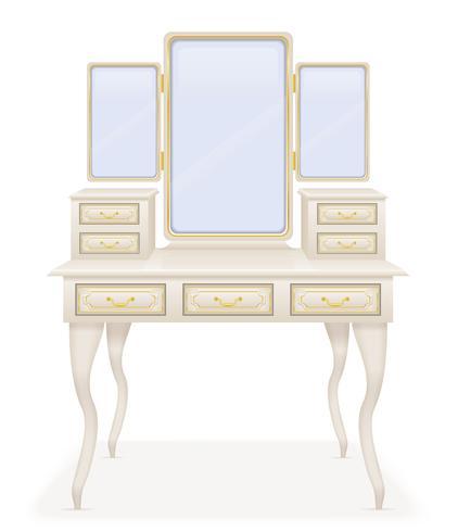 ilustração em vetor móveis retrô velha mesa vaidade