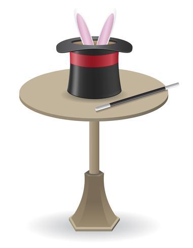 varinha mágica e chapéu de cilindro sobre a ilustração do vetor de mesa
