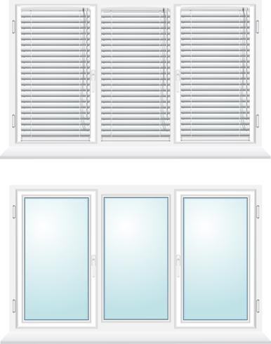 janela de plástico com venezianas vetor