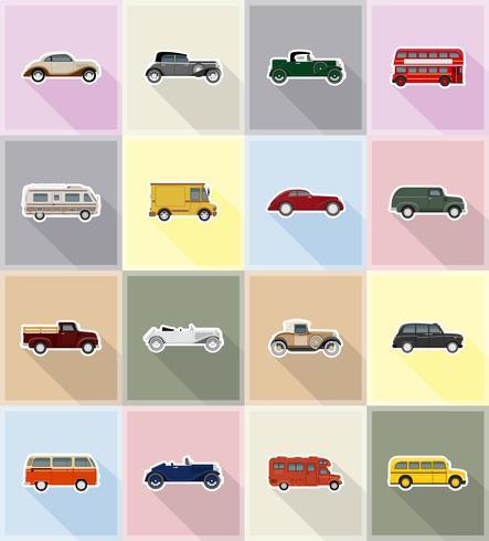 ilustração em vetor ícones antigos transporte retrô plana