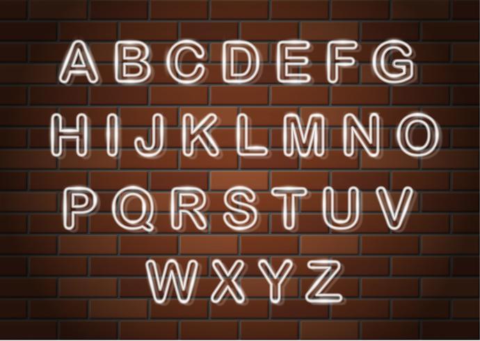 letras de néon brilhante ilustração em vetor alfabeto inglês